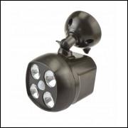 Luminária Spotlight 4 Leds com Sensor de Movimento Wireless